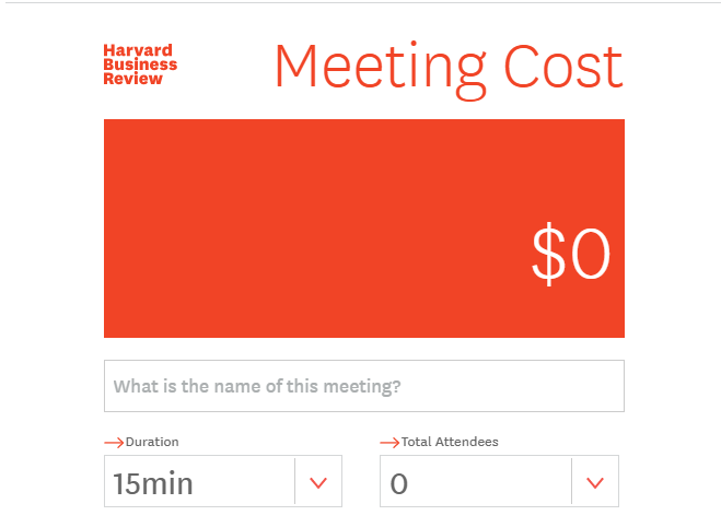 Estimate cost of a meeting calculator